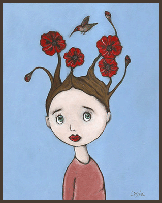 Painting by Lizzie of a girl with flowers growing from her hair. A hummingbird coming in for a drink of nector.