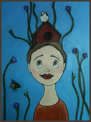 Painting by Lizzie of a girl entwined with flowers and a bird house sitting on her head.