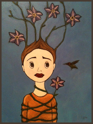 Painting by Lizzie of a girl entwined with flowers.