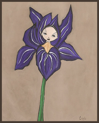 Painting by Lizzie of a girl inside a purple iris flower.