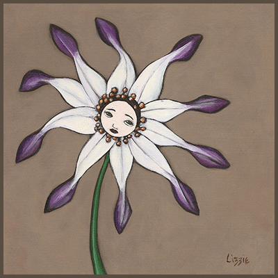 Painting by Lizzie of a girl inside a purple flower.