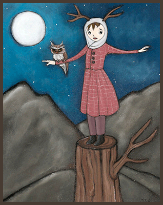 Painting by Lizzie of a tree nymph standing on a tree trunk. An owl is resting on her arm.